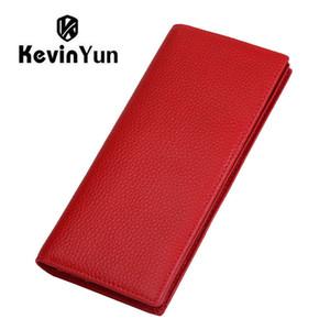 КЕВИНА ЮНА дизайнерского бренд мода из натуральной кожи женщин бумажников RFID Блокировка держатель Длинных Тонкого Lady Card Двойного кошелек C1115