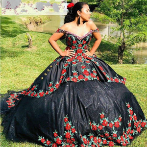 2021 Mexican Charro Sweet 16 Dresses Black Color Floral Embroidered Beaded Off The Shoulder Theme Quinceanera Dress Ball Gowns Vintage