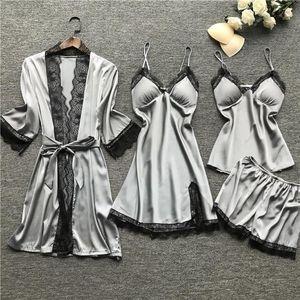 Sleepwear Lingerie Women Silk Lace Robe Dress Babydoll Sleepwear Nightdress Pajamas Set Nightdress Sexy Lingerie Underwear