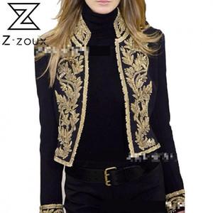 Z-Zoux Mujeres Impreso Abrigo negro Soporte Soporte Cuello de manga larga Slim Slim Traje Short Blazer Chaqueta Otoño 2020