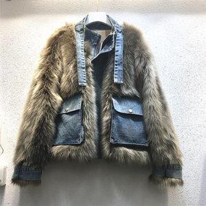 Winter Fur Coat Women Denim Patchwork Faux Fur Pocket Short Lady Jacket 2020 Streetwear New Arrival Female Warm Overcoats