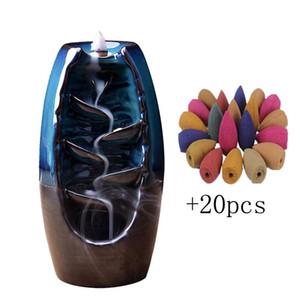 Backflow Incense Burner Waterfall Ceramic Smoke Mountain River Handicraft Incense Censer Holder Home Decor Houder with 20 Cones