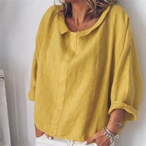 Women's Cotton Linen Long Sleeve Shirt Peter Pan Collar Plus Size 5XL Plain Womens Tops and Blouses Summer Casual Shirts LJ200811