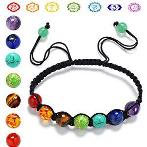colors Reiki Natural Stone Bead Bracelet Yoga 7 Chakra Bracelet Bangle Cuff Buddha Balance hip hop jewelry drop ship
