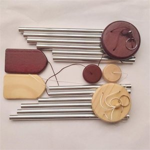 Wooden Wind Chime Pequeno 6-Tubo Varanda Hangings Porta Decoração Nórdica Pastoral Pastoral Bells Ornamento Artesanato 146 N2