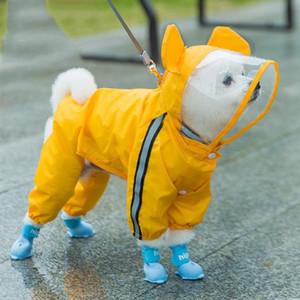 Pet Raincoat Reflexivo Cachorrinho All-Inclusive Quatro Pés Casaco Verde VERDE À Prova D 'Água Casaco de Roupas de Cão Hiromi com Botas de Chuva