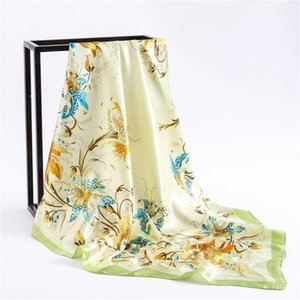 New Bright Color Large Square Scarf Fresh Sweet Floral Imitation Silk Scarf Fashion Wild Decoration Warm Women Winter A741
