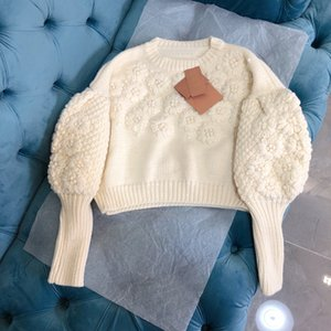 Pearl flower jacquard puff sleeve design thick knit sweater
