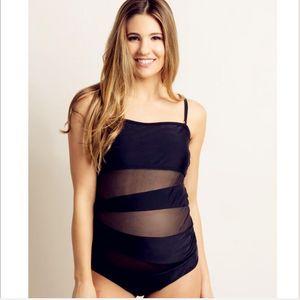 New split maternity swimsuit solid color mesh new hot sale bikini beach sexy swimwear