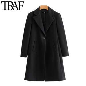 TRAF Women Fashion Single Button Woolen Coat Vintage Long Sleeve Side Pockets Female Outerwear Chic Overcoat Y1112