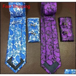 Fashion Men Tie Set And Handkerchief Bowtie Cufflinks 9cm Necktie 100% Silk Ties For Business Wedding Pa qylzEb dh_seller2010