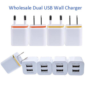 Top Quality Dual Adapter 5V 2.1+1A Travel Charger US EU Plug Double USB Charger for All Smart Phone Tablet Universal 2 Ports Wall Charger