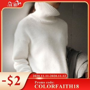 Colorfaith New 2020 Autumn Winter Women Sweater Turtleneck Pullovers Bottoming Fake Mink Cashmere Oversize Knitwears Tops SW1157 Q1114