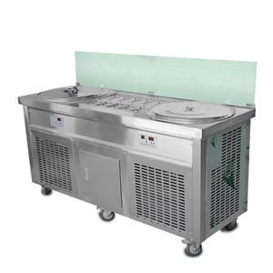 Envio gratuito para porta EUA wh ETL CE Double 20 polegadas panelas de gelo com 10 refrigerando tanque rolo máquina de sorvete frite máquina de sorvete