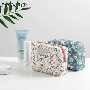 PURDORED 1 pc Floral Pattern Cosmetic Bag Korean Style Mini Women Makeup Bag Travel Wash Bag Mini Lipstick Beauty CaseOrganizer