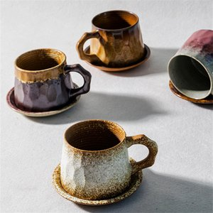 300 Vintage Coarse Ceramics Handmade Coffee Cup & Saucers Tea Mugs Gradients Colors Pattern Cup and Dish
