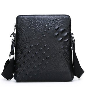 2020 New Genuine Leather Mens Shoulder Bag Casual Mens Small Backpack Top Layer Leather Crocodile Messenger Bag Briefcase Mens Hair