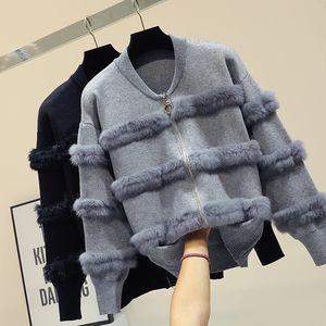 Chic Rabbit Fur Patchwork Warm Knitted Jacket Jersey For Women Zipper Design Sweaters Cardigan New Elegant Female Knitting Coat 201130