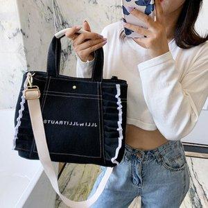 Sweet handbag decorated with canvas lace Design Shipping Bags Women Handbags Large Capacity Canvas Bag shoulder bag handbags