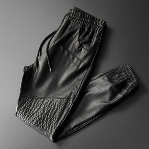 Thoshine Brand Men Leather Pants Superior Quality Elastic Waist Jogger Pants Motorcycle Pocket Faux Leather Trousers Harem Pants 201112