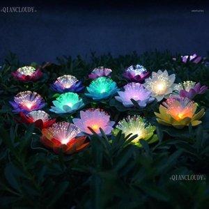 Fleurs décoratives couronnes 12 pièces LED de la fibre optique artificielle étanche fausse étang léger lotus lotus feuille de couleur changement de couleur décoration de mariage