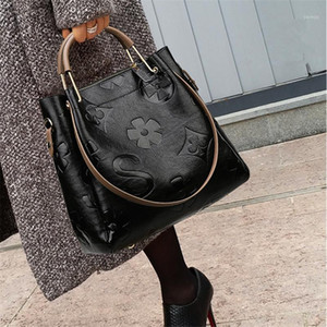 Big Women Bucket Bag Female Shoulder Bags Large Size Vintage Soft Leather Lady Cross Body Handbag for Women Hobos Bag Tote1
