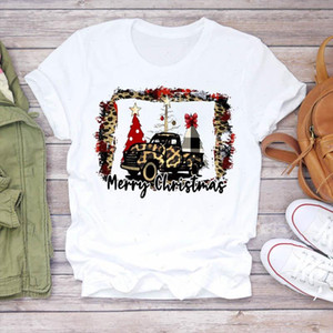 Women Leopard Tree Star Cute Letter New Year 90s Merry Christmas Print Tshirts Top T Shirt Ladies Graphic Female Tee T Shirt