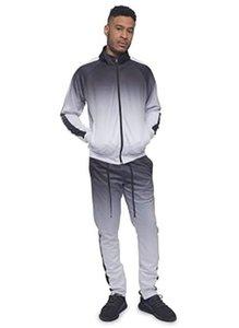 Zipper Gradient Tracksuit Men Set Sporting 2 Pieces Sweatsuit Jacket Pants Track Suits Male Jogging Sportswear Set
