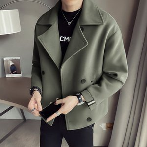 2021 New Woolen Windbreaker Fashion coreano Ruffian Handsome Inverno Uomo Casual Giacca Casual Tweed Short
