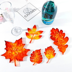 OOTDTY 5pcs set Leaf Coaster Base Silicone Mold Resin Craft Casting Epoxy Jewelry Pendant Making Mould Handmade Tool C0116