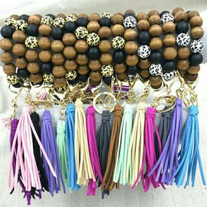 Wood Pendant Keychain Creative Leopard Bead Bracelets Jewelry Tassel Bracelet Holder Keyring for Women Girls Party Faovr Gifts Kimter-L974FA