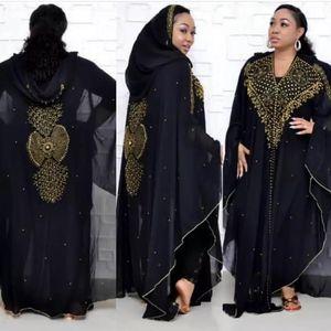 MD Super Size Chiffon Djellaba Dress Beading Embroidery Muslim Kimono Abaya Cardigan Dubai 2020 Turkish Kaftan Moroccan Boubou
