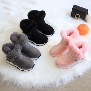 2020 Children's Snow Boots Girls Fur Martin Boots Baby Sport Shoes Leather Princess Boots Y1125