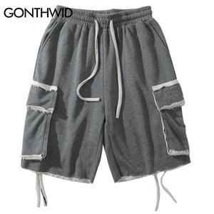 GONTHWID Side Ribbon Pockets Cargo Baggy Shorts Streetwear Men Summer Hip Hop Casual Joggers Sweatshorts Fashion Short Pants X1116