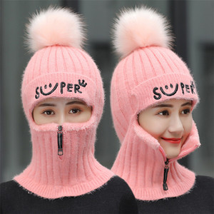 2020 Women Winter Beanie Set Knitted Wool Hat Mask Lady Warm Velvet Thick Cycling Beanies Skullies Female Collar Jumper Cap