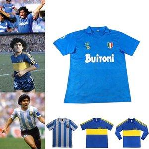 Maradona Retro Neapel Argentinien Boca Junior Maradona Football Uniform 1978 1981 1986 1987 Retro Football Hemd Gedenken