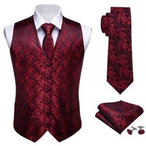 Mens Tie Classic Red Paisley Jacquard Silk Waistcoat Vests Handkerchief Party wedding Tie Vest Suit Pocket Square Set Barry.Wang1