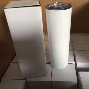 20OZ white blank sublimation tumbler powder Factory coated vacuum insulated straight mug DIY tall skinny cups with lid