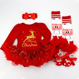 Infant Clothing Set Girls Cutest Deer Outfits Baby Christmas Boutique Clothes Red Bling-bling Tutu Dress 4pcs set With Headband F1202