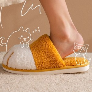 Winter House Warm Fur Slipers For Women Cute Cat paw Designer Bedroom Warm Plush Shoes Non-slip Indoor Women Furry Slippers 201125