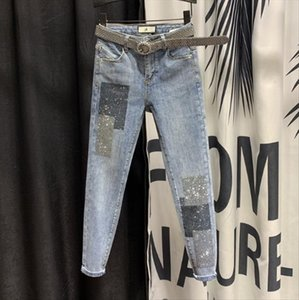 High Waist Jeans Women Stretch Slim Fit Denim Jeans Womens 2020 Spring New Sequined Rhinestone Hot Drill Pencil Pants