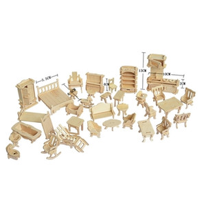 1set = 34 pcs, AIboully Boneca de Madeira Casa Dollhouse Furnituros Jigsaw Puzzle Escala Miniatura Modelos DIY Acessórios Set 201217