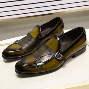 Felix Chu Brand Patent Leder Herren Müßiggänger Hochzeits Party Kleid Schuhe Schwarz Grün Mönch Strap Lässige Mode Männer Slip auf Schuhe C1120