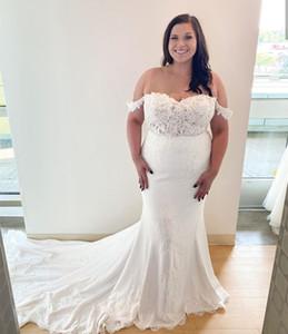 Plus Size Mermaid Wedding Dresses Off the Shoulder Flower Applique Lace Bridal Gowns 2021 Spring Summer Fashion Vestido De Noiva