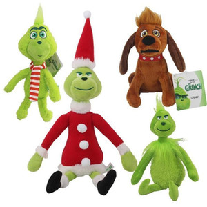 30CM Christmas Grinch Max Dog Plush Doll Soft Toy Stuffed Animal Cute Cartoon Plush Dolls Toys For Children Christmas Gifts FY4354