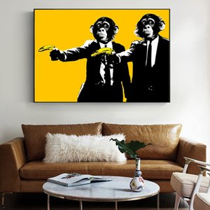 Funny Graffiti Monkeys with Banana Canvas Painting Posters and Prints Cuadros Wall Art Picture for Living Room Modern Minimalism Style