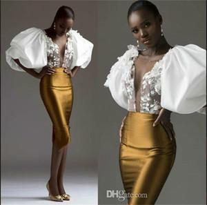 Abito da sera della guaina dell'oro Vestito da sera Sudafricano Esagerato Manica Sheer Neck Applique Prom Dresses Dress da sera Cocktail Party Gown Robe de Soirée
