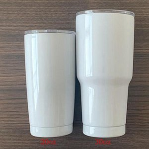 Blank Sublimation Tumbler 20 30oz Stainless Steel Cups Double Wall Vacuum insulated Cup travel Mug with Lid DIY gift Sea Shipping IIA865-1