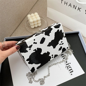 Fashion Leopard Cow Women Small Square Shoulder Retro Ladies Chain Crossbody Bags Box Flap Evening Clutch Purse Handbags Q1129