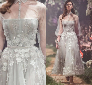 Paolo Sebastian Flowers Tulle Prom Dresses A Line 2021 Fairy Evening Wear Illusion Long Sleeves 3D Floral Formal Gowns Brithday Party Dress